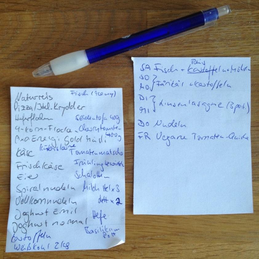Einkaufsliste und Essenplan.