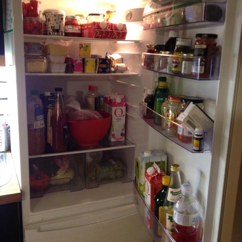 Kühlschrank Abends nach dem Einkauf